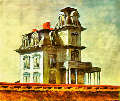 Light Blue Painting - The House Of The Railroad By Hopper Revisited by Leonardo Digenio