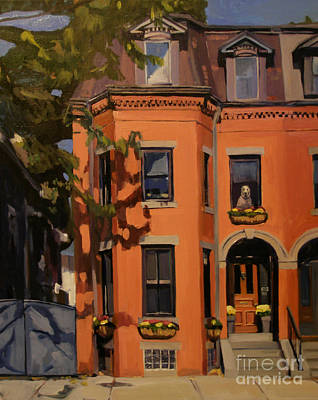 Brownstones Painting - The House Sitter by Deb Putnam