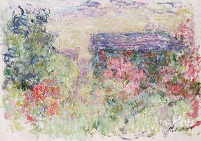Red Roof Painting - The House Through The Roses by Claude Monet
