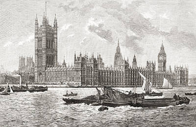 Big Ben Drawing - The Houses Of Parliament, City by Vintage Design Pics
