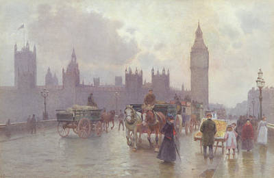London Bridge Painting - The Houses Of Parliament From Westminster Bridge by Alberto Pisa