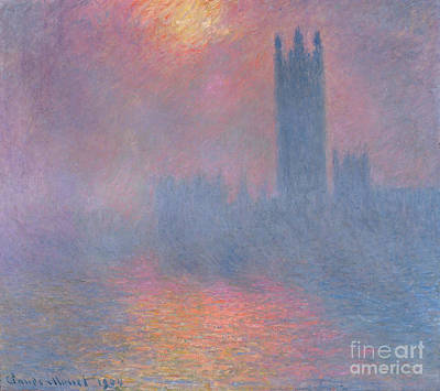 The Sun Painting - The Houses Of Parliament London by Claude Monet