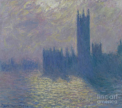 Townscape Painting - The Houses Of Parliament Stormy Sky by Claude Monet