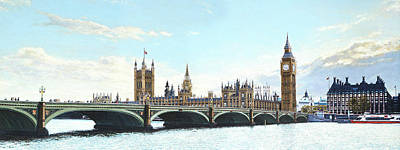 Union Bridge Painting - The Houses Of Parliament Westminster Bridge And Portcullis House by Mark Woollacott