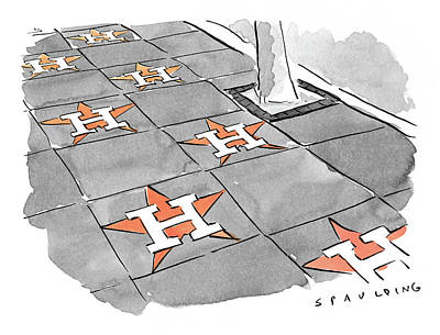 Drawing - The Houston Astros Walk Of Fame by Trevor Spaulding