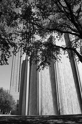 Photograph - The Houston Water Wall And Williams Tower In Black And White by Angela Rath