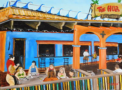 Painting - The Hub Baja Grill On Siesta Key by Lloyd Dobson
