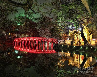 Kiem Photograph - The Huc Bridge Night Hanoi by Chuck Kuhn