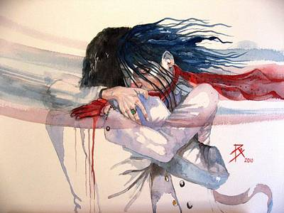 Tear Painting - The Hug by Ray Agius