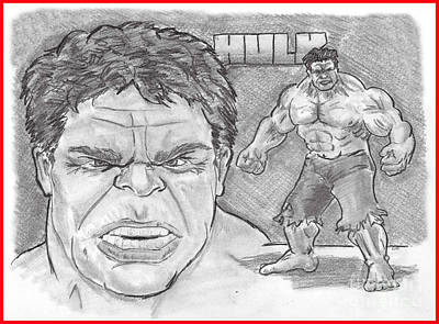 Drawing - The Hulk Hulk by Chris  DelVecchio