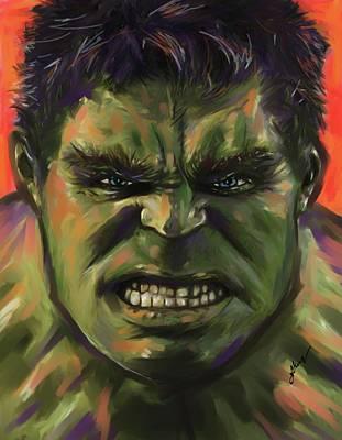 Anger Digital Art - The Hulk by Julianne Black