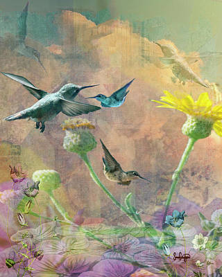 Drawing - The Hummingbird Bouquet by Sandra Schiffner