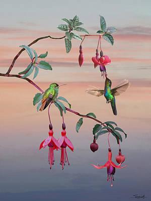 Digital Art - The Hummingbird Fuchsia by IM Spadecaller