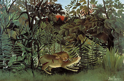 Painting - The Hungry Lion Attacking An Antelope by Henri Rousseau