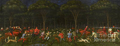 Dog In Landscape Painting - The Hunt In The Forest by Paolo Uccello