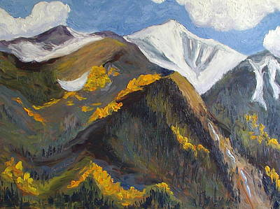 Zanobia Painting - The Hunt On Mount Antero Buena Vista Colorado by Zanobia Shalks