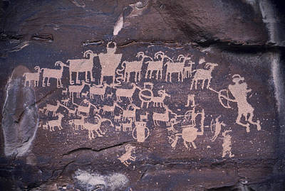 Mural Photograph - The Hunt Scene- Ancient Pueblo-anasazi by Ira Block