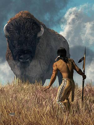 Digital Art - The Hunter And The Buffalo by Daniel Eskridge
