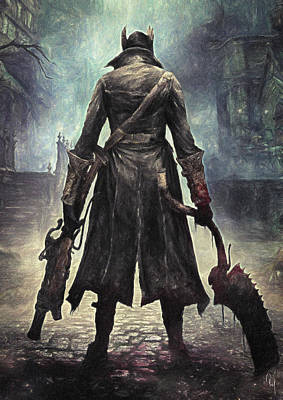 Video Game Painting - The Hunter - Bloodborne by Taylan Apukovska