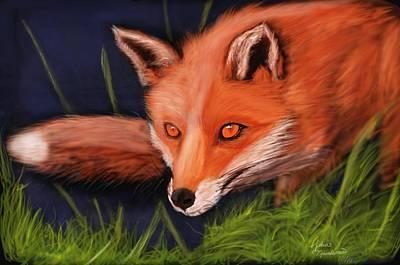 Fox Digital Art - The Hunter by John Tjeerdsma