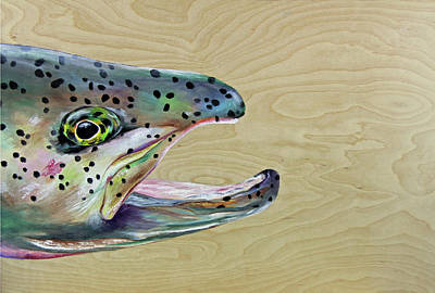 Trout Painting - The Hunter by Lacey Hermiston
