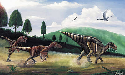 The Hunters - Balaur Bondoc And Telmatosaurus Transylvannicus Art Print by Mihai Dumbrava