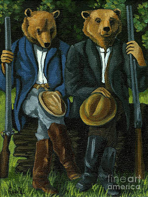 Painting - The Hunters - Bears Painting by Linda Apple