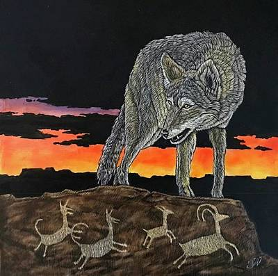Desert Sunset Mixed Media - The Hunting Lesson, Coyote by Joe Watkins