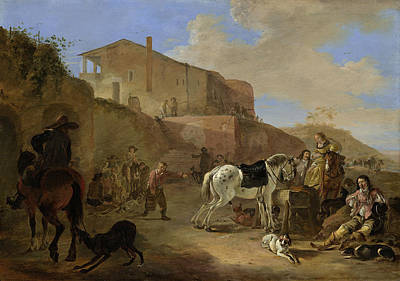 Painting - The Hunting Party by Dirck Stoop