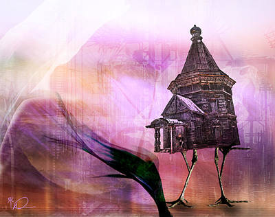 Slavic Digital Art - The Hut Of Baba Yaga by David Derr