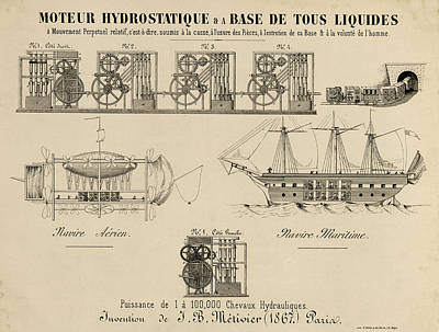 Drawing - The Hydrostatic Motor by Vintage Pix