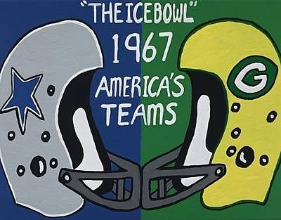 Dallas Drawing - The Ice Bowl Green Bay Packers Versus The Dallas Cowboys by Jonathon Hansen
