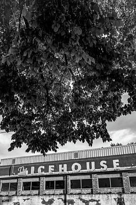Photograph - The Icehouse - Black And White - Bentonville Market District by Gregory Ballos