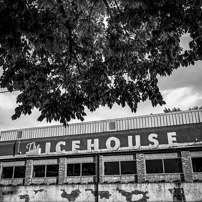 Photograph - The Icehouse - Black And White - Bentonville Market District - Square Print by Gregory Ballos