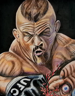 Drawing - The Iceman Knocks Out A Guys Eye. by Chris Benice