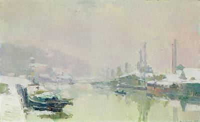 Snow Scene Painting - The Ile Lacroix Under Snow by Albert Charles Lebourg