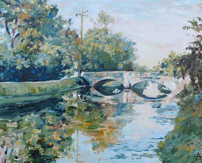 Indiana Rivers Painting - The Illinois Street Bridge Indianapolis by Azhir Fine Art