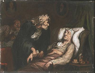 Invalid Painting - The Imaginary Invalid  by Honore Daumier