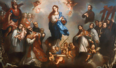 Christian Artwork Painting - The Immaculate Conception With Jesuits by Mountain Dreams