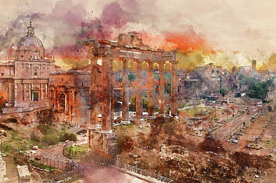 Painting - The Imperial Fora, Rome - 08 by Andrea Mazzocchetti