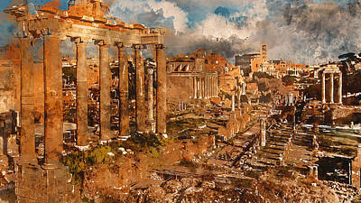 Painting - The Imperial Fora, Rome - 09 by Andrea Mazzocchetti