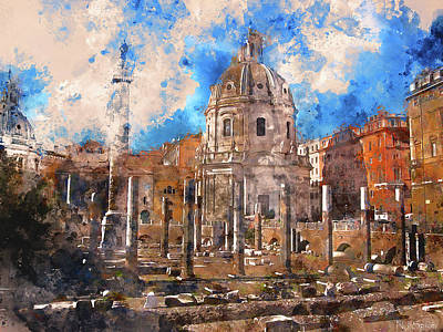 Painting - The Imperial Fora, Rome - 12 by Andrea Mazzocchetti