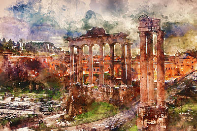 Painting - The Imperial Fora, Rome - 13 by Andrea Mazzocchetti