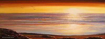 Painting - The Importance Of Being There Panoramic Sunset by Gina De Gorna