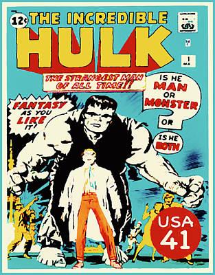 The Incredible Hulk Comic Book Cover Art Print