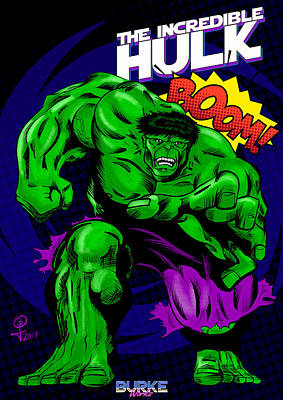 Digital Art - The Incredible Hulk Retro Style by Joseph Burke