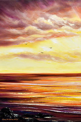 Painting - The Incredible Journey - 2 Vertical Sunset by Gina De Gorna