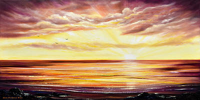Painting - The Incredible Journey - Panoramic Sunset by Gina De Gorna