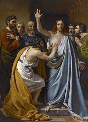 Incredulity Painting - The Incredulity Of Saint Thomas by Francois-Joseph Navez