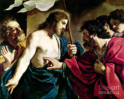 Disciples Painting - The Incredulity Of Saint Thomas by Guercino